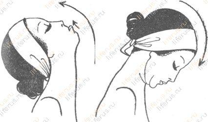 Запрокидывая голову, нижней губой покрываем верхнюю; при броске на грудь тяжелой головой ослабляем напряжение и смыкаем губы